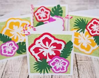 Set of 4, Hibiscus Gift Tags, Handmade Card, Floral Gift Tags, Tropical Flower Hang Tags, Hawaiian Theme, Favor Tags, Luau Party, Birthday
