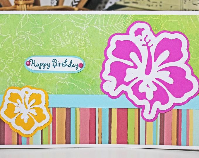 Tropical Flower Card, Birthday Card, Hawaiian Tropical Theme, Colorful Beach Party, Paradise Pool Luau, Exotic Island Lei, Aloha Greeting