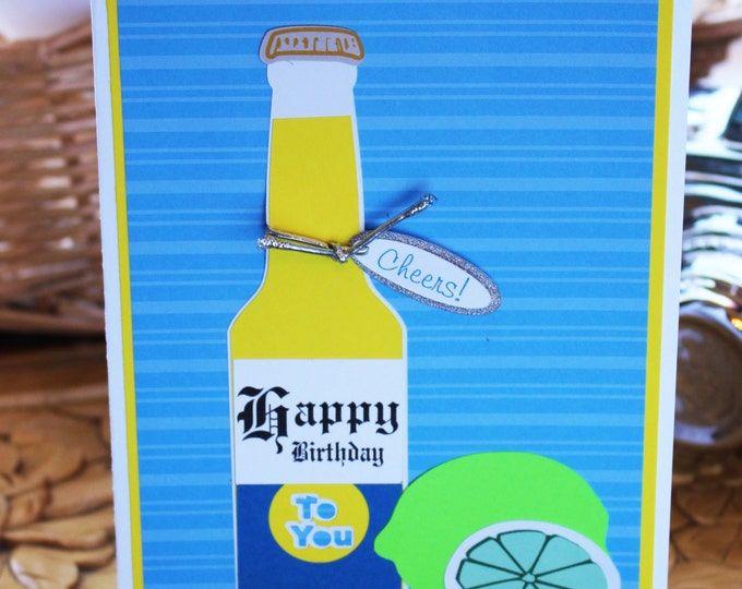 Beer, Bottle, Birthday, Card, Handmade, Cerveza, Corona, Lime, Mexican, 21st, 40th, Any Year, Celebration, Promotion, Graduation, Retirement