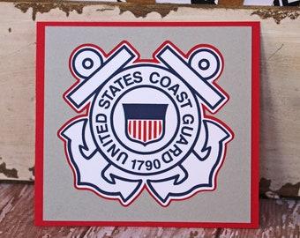 US Coast Guard Die Cut, Layered Die Cut, Coast Guard Die Cut, United States Coast Guard Die Cut, Die Cut, Scrapbook, Embellishment, USCG