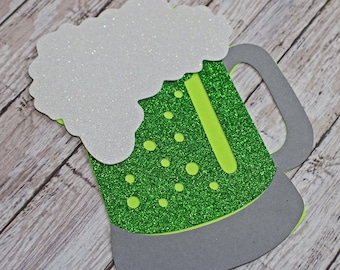 Green Beer Die Cut, St Patrick's Day, Scrapbook Diecuts, St Paddy's Embellishment, Irish Scrapbooks, Ireland Die Cuts, St Paddy's Diecuts