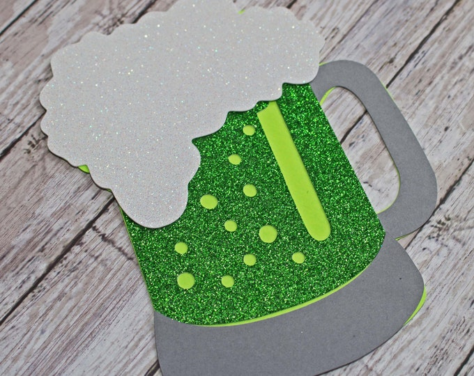 Green Beer Die Cut, St Patrick's Day, Scrapbook Diecuts, St Paddy's Embellishment, Irish Scrapbooks, Ireland Die Cuts, St Paddy's Diecuts