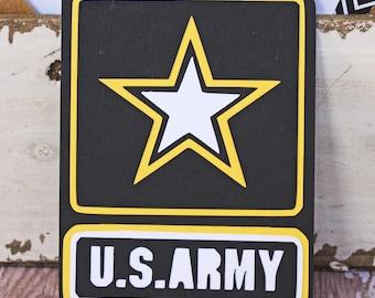 US Army Die Cut, Layered Die Cut, United States Army Die Cut, Army Die Cut, Die Cut, Scrapbook, Embellishment, Army Scrapbook, Army Pages