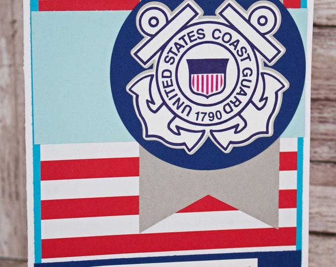 US Coast Guard Card, Coastie Retirement, Rank Promotion, Academy Graduation, Semper Paratus, Coast Guard Achievement, Handmade Greeting Card