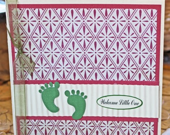 Pink Baby Feet Card, Baby Feet Card, Baby Shower Card, Baby Girl Shower, Green Feet, Handmade Card, Pink Baby Feet, Modern Baby, Baby Girl