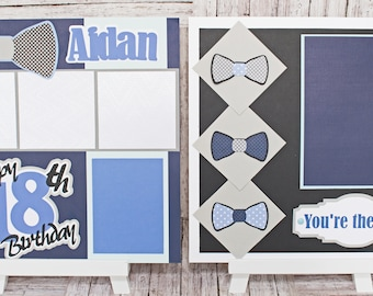 Any Birthday Year, Father's Day, Any Color, Handmade Scrapbook Page Set, You're the Man, Custom Bow Tie, Premade Kit, Personlized Name, Men