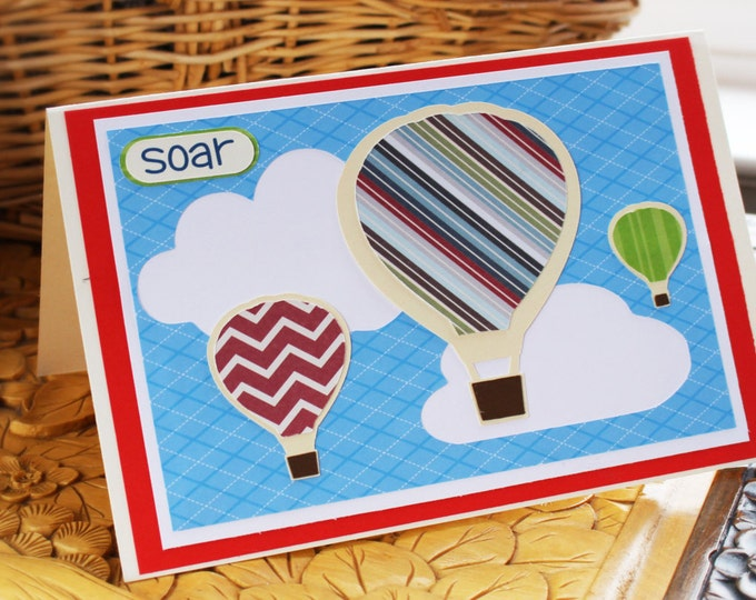Hot Air Balloon Achievement Card, Hot Air Balloon Graduation Card, Hot Air Balloon Congratulations Card, Hot Air Balloon Card, Soar Card