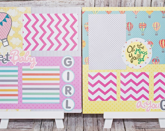 Handmade Scrapbook Page Set, Baby Girl, Custom Premade Kit, Personlized Memory Book, Hot Air Balloon, Colorful Baby Girl Theme, Baby Shower