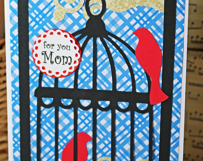 Custom Card, Birdcage Card, Mother's Day Card, Birthday Card, Handmade Card, Mother's Day Greeting, Birthday Greeting, Handmade Bird Card