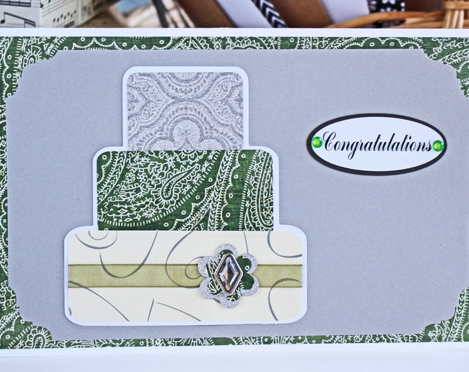 Green and Silver Layered Wedding Cake Card - Wedding, Congratulations, Handmade, Card, Green, Silver, Irish, Bridal, Bride, Groom, Cake, St.