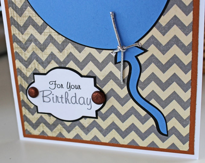 Balloon Birthday Card for Him, Personalized Birthday Card, Blue Balloon Card, Chevron, Mens Birthday Card, Male Birthday Card, Teen Boy Card