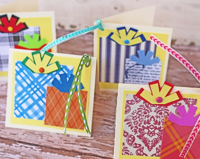 Set of 4, Birthday Gift Tags, Handmade Gift Tags, Colorful Present Tags, Gift Tags, Presents, Tags, Birthday, Birthday Gift, Hang Gift Tags