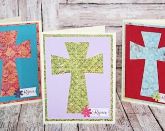 Easter Cross Card Set, Set of 3 Easter Cards, Jesus Christ Cross, Easter Sunday Holiday Celebration, Handmade Greeting, Colorful Easter Card