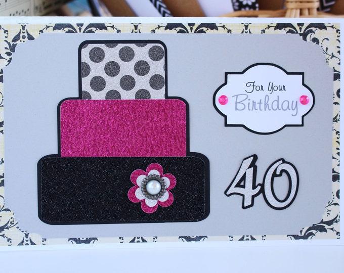 Custom Number, 3 Tier Birthday Cake Card, Layered Cake Card, Handmade Birthday, Personalized Greeting, Happy Birthday Bling, Any Age Gift