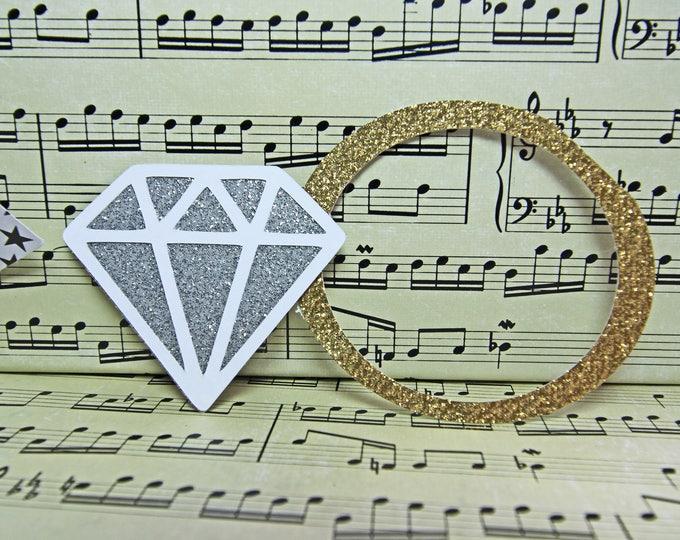 2-Dimensional Wedding Ring, Wedding Ring Die Cut, Diamond Ring Die Cut, Diamond Die Cut, Engagement Ring Die Cut, Wedding Scrapbook,