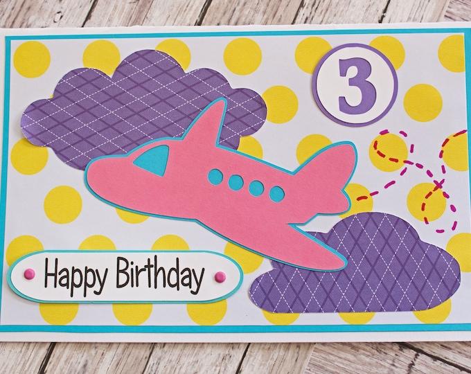 Any Birthday Number, Airplane Birthday Card, Custom Card, Little Girl, Toddler Kid Birthday, Handmade Greeting, Child Aviation Theme Party