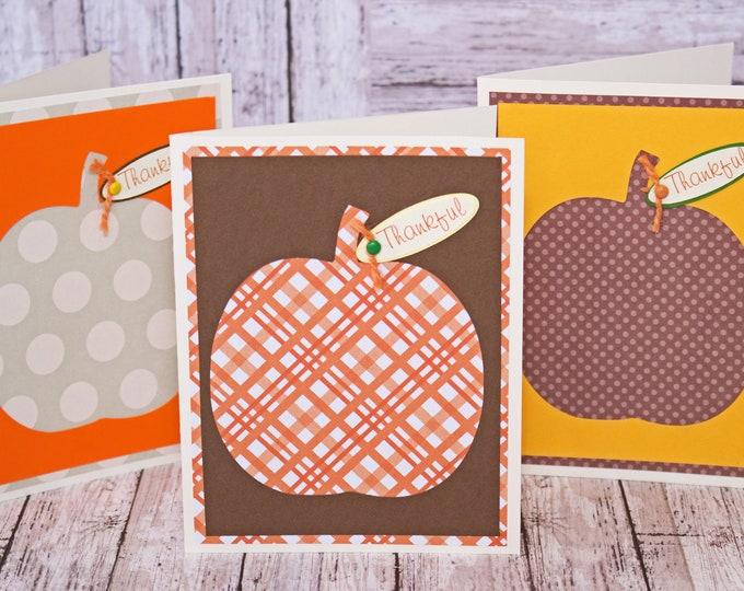 Fall Pumpkin Card Set, Set of 3 Blank Cards, Thanksgiving Card, Harvest Pumpkin, Thankful Card Set, Colorful Fall Pumpkins, Handmade Cards