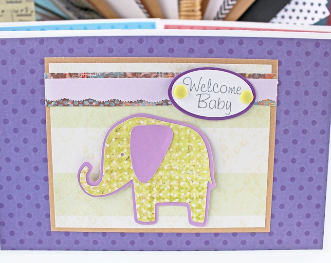 Welcome Baby, Baby Elephant, Handmade Card, Baby Shower, New Baby, Girl or Boy, Elephant Baby Shower, Gender Neutral, Gender Unknown, Purple