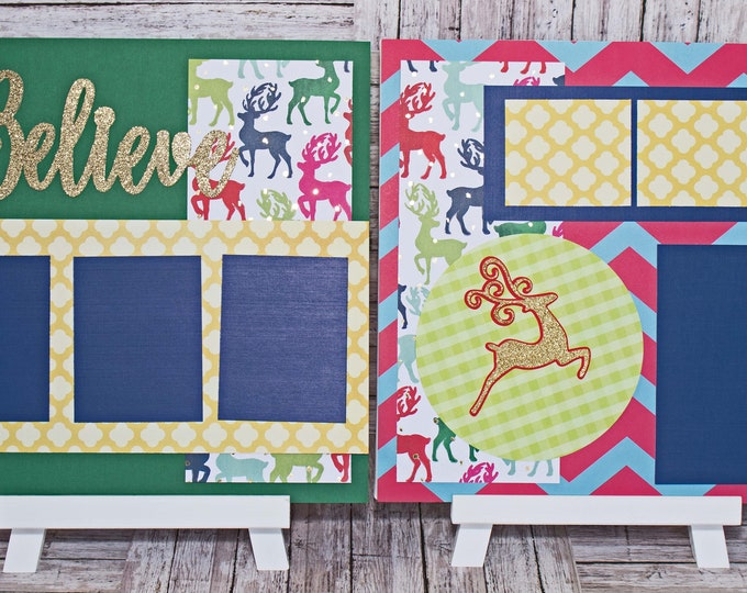 Whimsical Christmas Scrapbook Page Set, Believe in Christmas, Premade Scrapbook Page, Layered Die Cut, Elegant Handmade Layout, Reindeer