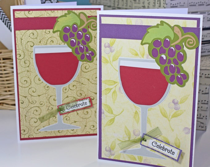 Handmade Wine Glass Card, Red Wine Birthday Card, Special Celebration, Glass of Red Wine, Classy Birthday Greeting, Vineyard Theme Party