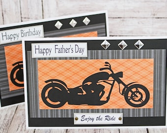 Custom, Enjoy the Ride Card, Motorcycle Card, Father's Day Card, Birthday Card, Harley, Motorcycle, Biker, Chopper, Handmade Card, Davidson
