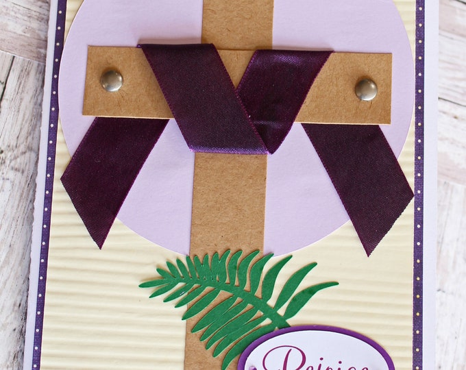Rejoice Easter Cross Card, Handmade Easter Card, He is Risen, Wooden Crucifix with Nails, Christian Holiday Greeting, Religious Easter Card