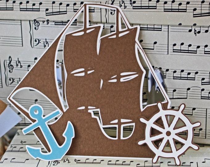 Nautical Die Cut, Ship Die Cut, Anchor Die Cut, Ship Wheel Die Cut, Sailing Die Cut, Sailing Scrapbook, Handmade Die Cut, Nautical Scrapbook