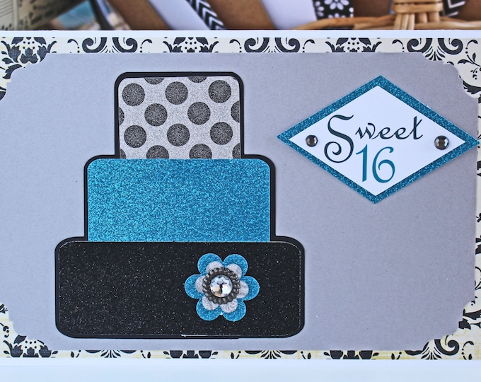 Sweet 16 Birthday Cake Card - Tier, Cake, Birthday, Handmade, Card, Sweet, 16, Sixteen, Teal, Custom, Teen, Turquoise, Quinceanera, Bling