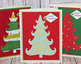 Set of 3, Christmas Tree Cards, Christmas Tree Cutouts, Handmade Greeting Cards, Christmas Greetings, Christmas Card Set, Pattern Tree Card