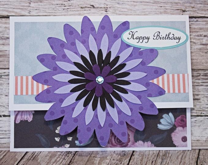 Elegant Mum Gift Card Holder, Floral Money Card, Flower Birthday Gift, Handmade Money Card, Purple Blue Coral Birthday, Garden Party Theme