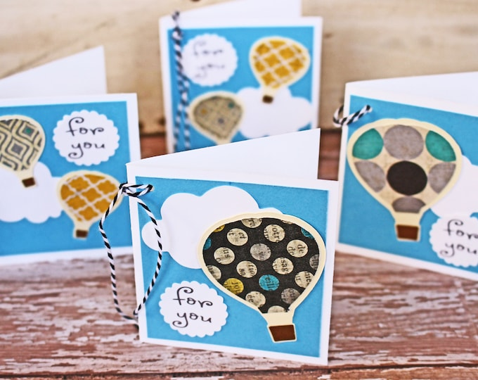 Set of 4, Hot Air Balloon Gift Tags, Handmade Gift Tags, Present Hang Tags, Gift Tags, Favor Tags, Hot Air, Balloon Tags, Birthday Gift Wrap