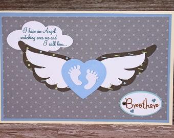 Loss of Sibling Sympathy Card, Baby Feet with Angel Wings, Handmade Card, Sympathy Card, Bereavement, Sibling Angel, Angel in Heaven, Loss