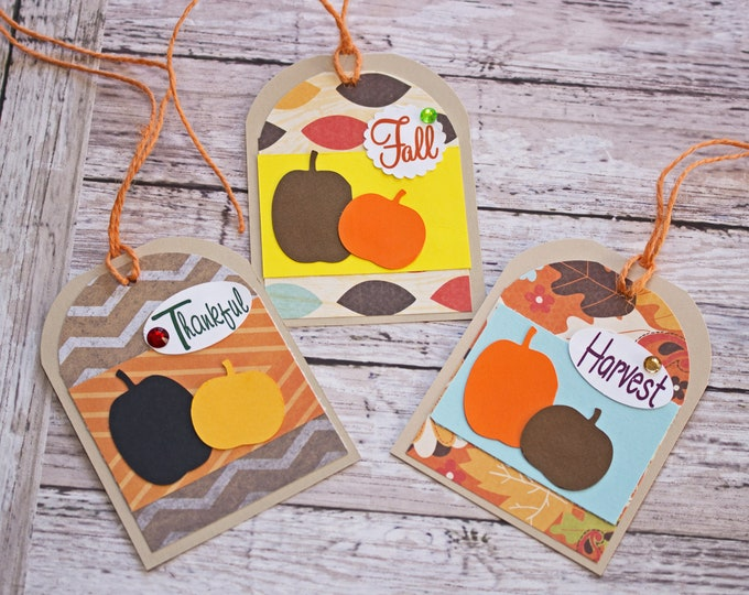Fall Pumpkin Tags, Set of 3 Hang Tags, Thanksgiving Party Decor, Dinner Place Card, Name Tag, Pumpkin Favor Tag, Harvest Party Treat Tag Set