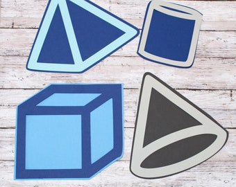 Any 2 Colors, Set of 4, Layered Diecuts, Geometric Shapes, Custom Die Cut Set, Science Math Class, Elementary, Middle Junior, High School