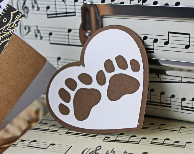 3 Pawprints in Heart Die Cuts, Pet Scrapbook, Pawprint Die Cut, Dogs, Cats, Handmade Die Cut, Pet Die Cut, Heart, Pets, Scrapbooks, Fur Baby