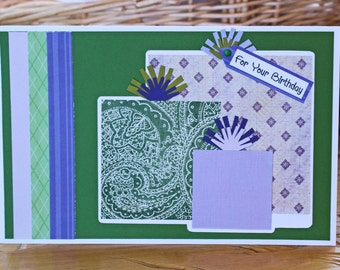 Layered Presents Card, Birthday Gift Greeting, Handmade, Recycled Paper Scrap, Colorful Green Purple Design, Vibrant Modern Pattern, For Her