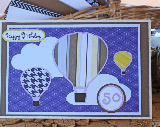 Custom, Hot Air Balloon Card, Handmade Card, Birthday Card, Balloon Card, Hot Air Balloons, Balloon Card, Balllooning, Hot Air Balloon Cards