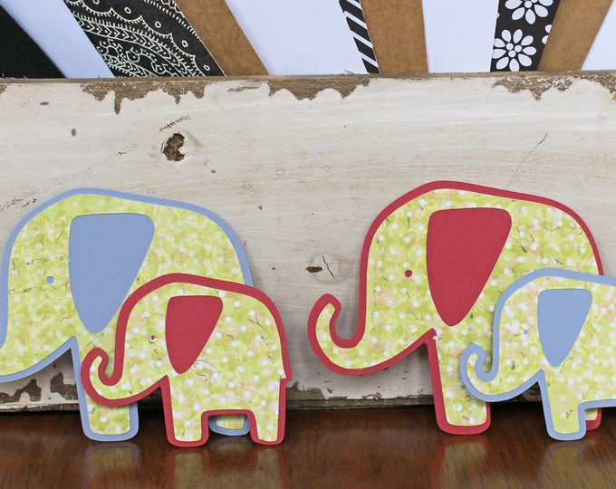 2 Elephant Die Cuts, Set of 2 Diecuts, Baby Scrapbook, Boho Baby Elephant, Mama, Daddy, Handmade Die Cut, Sibling, Big, Sister, Brother