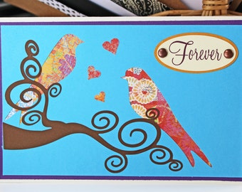 "Love Birds ""Forever"" Card - Timeless, Elegant Hand Crafted Card for Weddings, Anniversary, Engagement, Valentines, or to Say ""I Love You"""