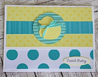 Baby Duck Gift Card Holder, Money Card, Gender Neutral Shower Gift, Rub a Dub, Duckling Baby Card, Yellow Rubber Ducky, Polka Dot Baby Theme