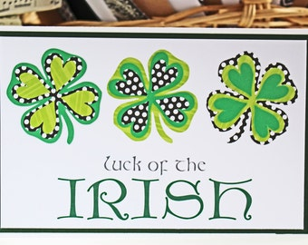Luck of the Irish Four Leaf Clover Card - St Paddy's, Day, St Patrick's, Saint, Patrick, Paddy, Irish, Handmade, Card, Ireland, Clover, Luck