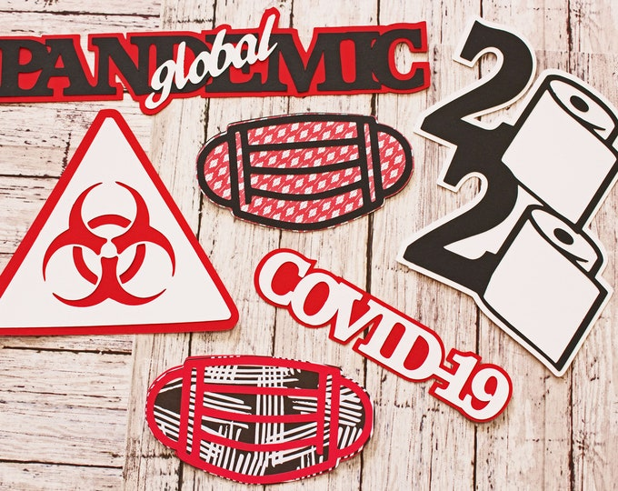 2020 Global Pandemic Diecuts, Handmade Die Cut Set, Scrapbooking Embellishment, Coronavirus Quarantine, Covid-19, Historic Event Documenting