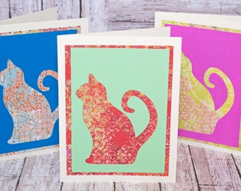 Set of 3, Cat Silhouette Note Cards, Handmade Cards, Birthday, Thank You, All Occasion, Just Because, Feline Card Set, Blank Stationary Set