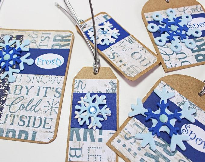 5 Snowflake Gift Tags, Handmade Gift Tags, Christmas Gift Tag, Holiday Gift, Gift Tag, Snowflake Gift Tag, Gift Tag, Christmas, Snowflake