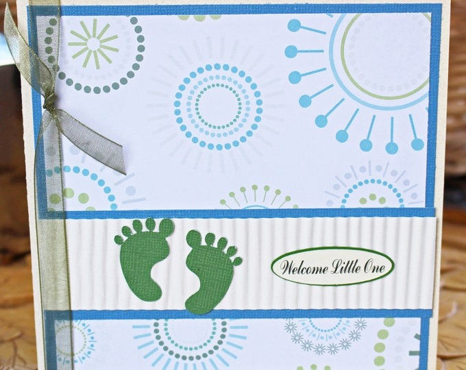 Blue Baby Feet Card, Baby Feet Card, Baby Shower Card, Baby Boy Shower, Green Feet, Handmade Card, Blue Baby Feet, Modern Baby, New Baby Boy