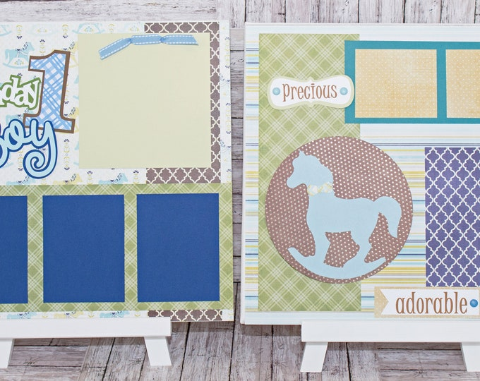 Handmade Scrapbook Page Set, Any Birthday, Little Boy, Custom Premade Kit, Personlized Memory Book, Rocking Horse, Antique Birthday Theme