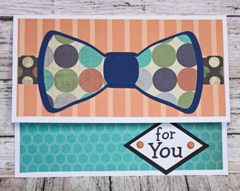 Birthday Gift Card Holder, Bow Tie Design, Money Card, Geometric Pattern, Sharp Dressed Theme, Hand Made, Colorful Male Birthday, Young Man