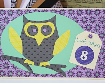 Personalized and Colorful Hand Crafted Owl Birthday Card - Add any number to this colorful birthday card for boys or girls!