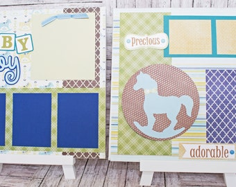 Handmade Scrapbook Page Set, Baby Boy, Custom Premade Kit, Personlized Memory Book, Rocking Horse, Colorful Baby Boy Theme, New Baby Shower