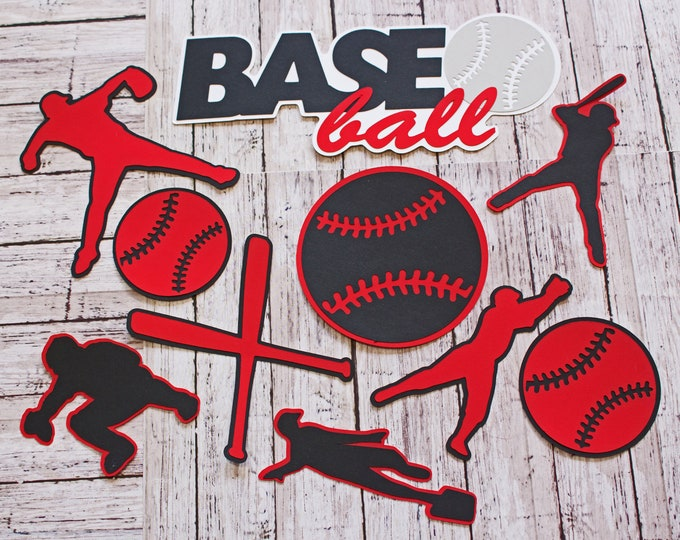 Any Colors, Baseball Die Cuts, Scrapbooking Set, High School Sports, Male Baseball, Team Colors, Handmade Diecuts, Banquet Decor, Pro Ball